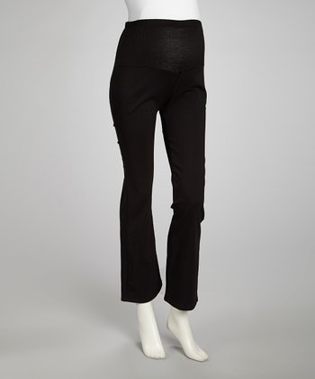 Black Mid-Belly Maternity Pants