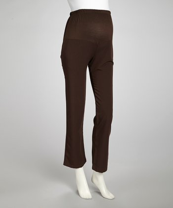 Brown Mid-Belly Maternity Pants