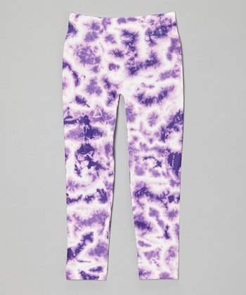 Purple Tie-Dye Leggings - Girls