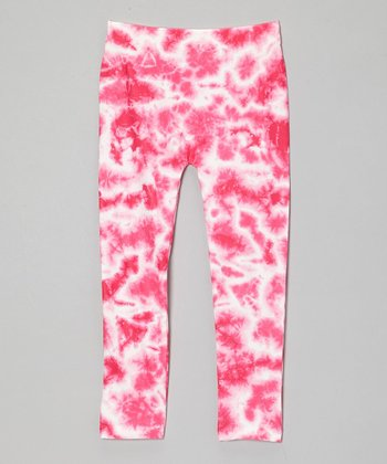 Fuchsia Tie-Dye Leggings - Girls