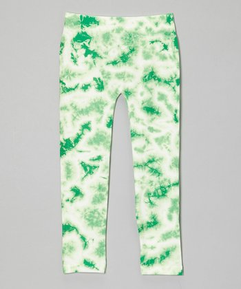 Mint Tie-Dye Leggings - Girls