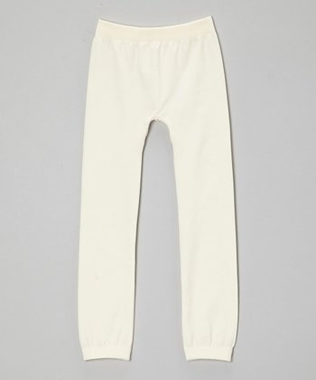 Cream Fleece Leggings - Girls