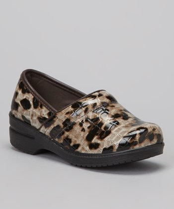 Brown Leopard Clog