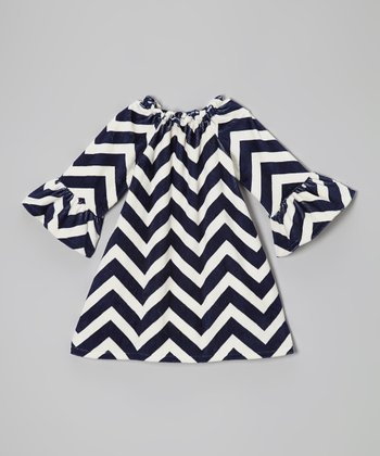 Navy Chevron Minky Peasant Dress - Infant