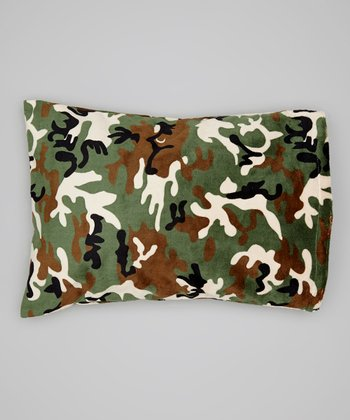 Green Camo Minky Travel Pillowcase