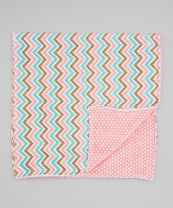 Coral Breeze Zigzag & Swiss Dot Minky Blanket