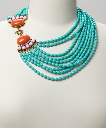 Turquoise & Red Beaded Fan Necklace