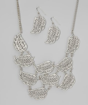 Rhodium Leaf Necklace & Earrings