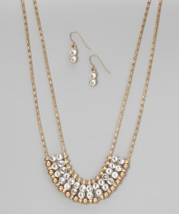 Worn Gold Jeweled Necklace & Earrings
