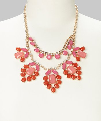 Orange & Hot Pink Bib Necklace