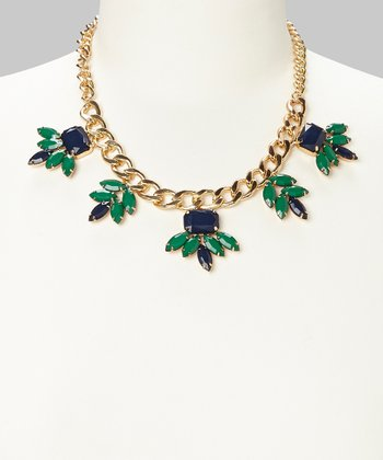 Navy & Emerald Fan Bib Necklace