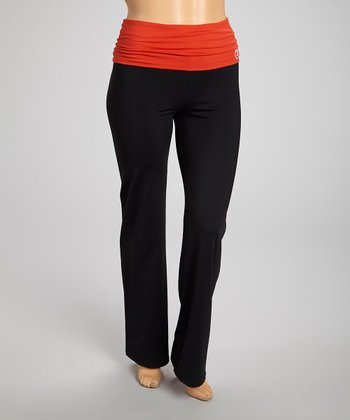 Burnt Orange Cinch-Back Yoga Pants - Plus