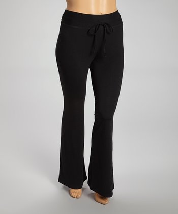 Black French Terry High-Waisted Lounge Pants - Plus