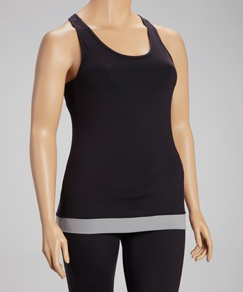 Black & Charcoal Libra Racerback Tank - Plus