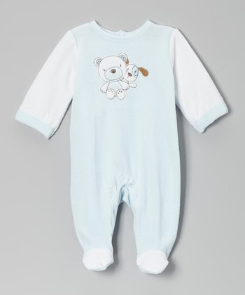 Light Blue Bear & Dog Footie
