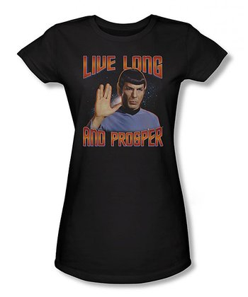 Black 'Live Long and Prosper' Sheer Tee - Women & Plus