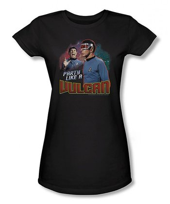 Black 'Party Like a Vulcan' Sheer Tee - Women & Plus