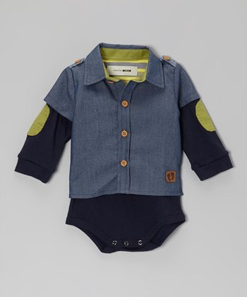 Blue Chambray Layered Bodysuit - Infant