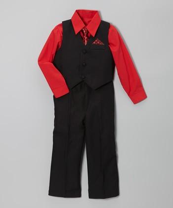 LA Sun Black & Red Vest Set - Infant, Toddler & Boys