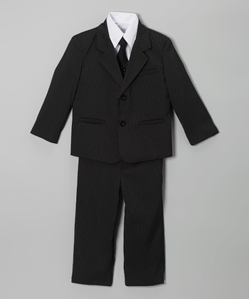 Black Stripe Suit Set - Boys