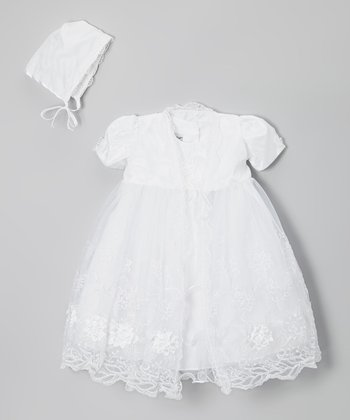 White Floral Dress Set - Infant, Toddler & Girls