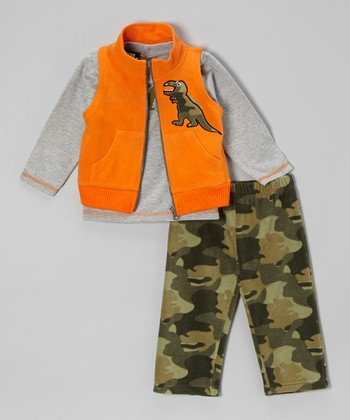 Orange Dinosaur Camo Vest Set - Infant & Toddler