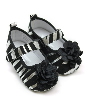Tender Toes Black & Silver Foil Zebra Flower Mary Jane
