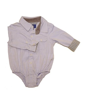 Blue Oxford Button-Up Bodysuit - Infant