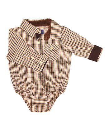 Eggplant & Brown Button-Up Bodysuit - Infant
