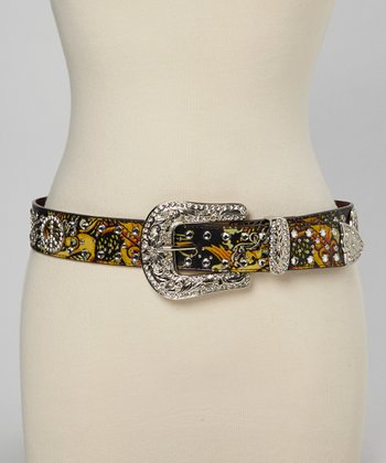Black Tattoo Peace Sign Concho Belt