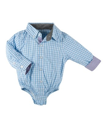 Blue Classic Plaid Bodysuit - Infant