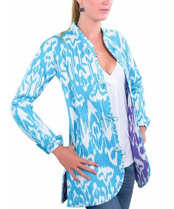 Light Blue Ikat Contrast Lined Quilted Jacket