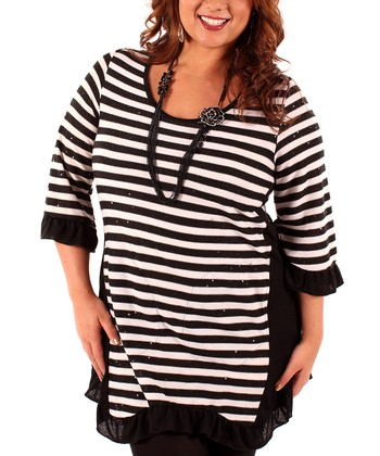 Black & White Stripe Ruffle Tunic - Plus