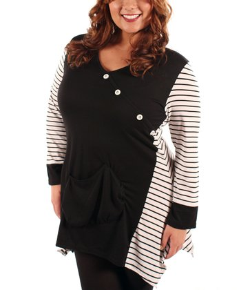 Black & White Stripe Asymmetrical Tunic - Plus