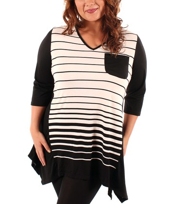 White & Black Stripe Sidetail Tunic - Plus