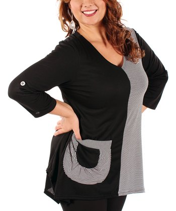 Black & White Stripe Color Block Tunic - Plus
