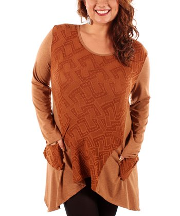 Copper Abstract Sidetail Tunic - Plus
