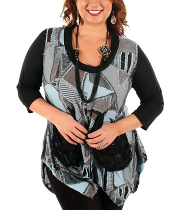 Black & Blue Patchwork Handkerchief Tunic - Plus