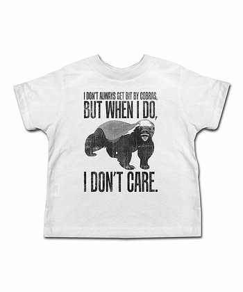 White 'I Don't Care' Honey Badger Tee - Toddler & Kids