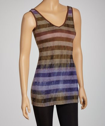 Olive Stripe V-Neck Tank