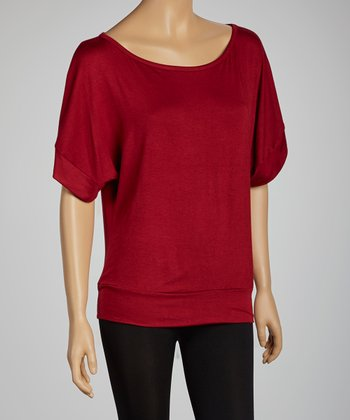 Wine Boatneck Dolman Top