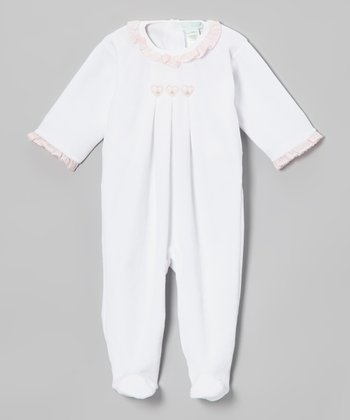 White Heart Velour Footie