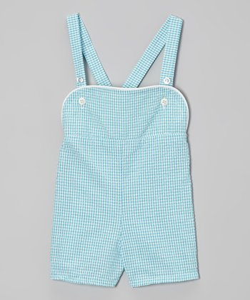 Blue Gingham Shortalls - Infant