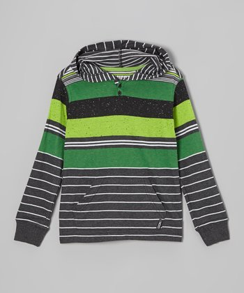 Heather Black & Green Stripe Hoodie - Boys