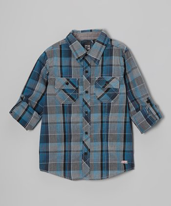 Blue Plaid Button-Up - Toddler & Boys