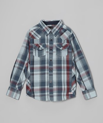 Light Blue Plaid Button-Up - Boys
