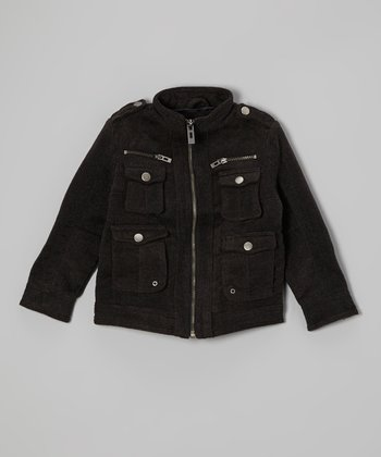 Dark Gray Charlie Wool-Blend Jacket - Boys