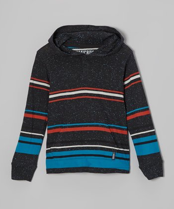 Heather Black & Blue Stripe Hoodie - Toddler & Boys
