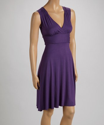 Amethyst Surplice Empire-Waist Dress