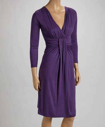Amethyst Twist Surplice Empire-Waist Dress